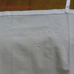Chemise de jour ancienne, chemise de nuit monogrammée MS