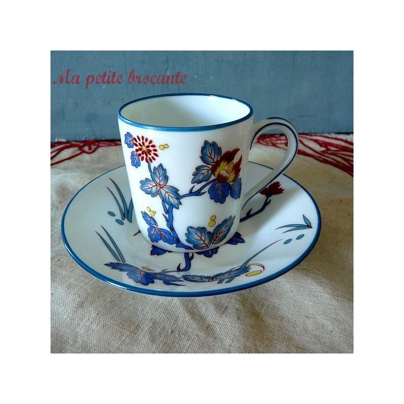 Tasse à café et soucoupe de Charles Field Haviland Limoges modèle Chantilly