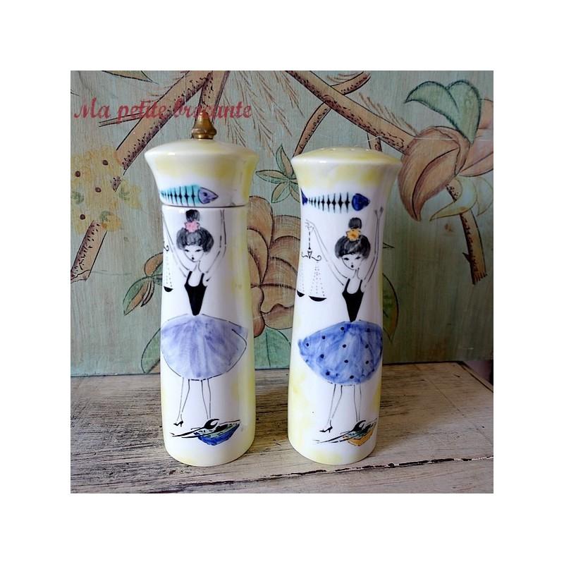Moulin à sel et poivre en porcelaine décor de danseuses
