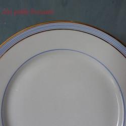 Assiette dessert en porcelaine de Limoges bleu ciel et or