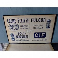 Porte menu publicitaire cème Eclipse Fulgor Poli fourneaux Cif