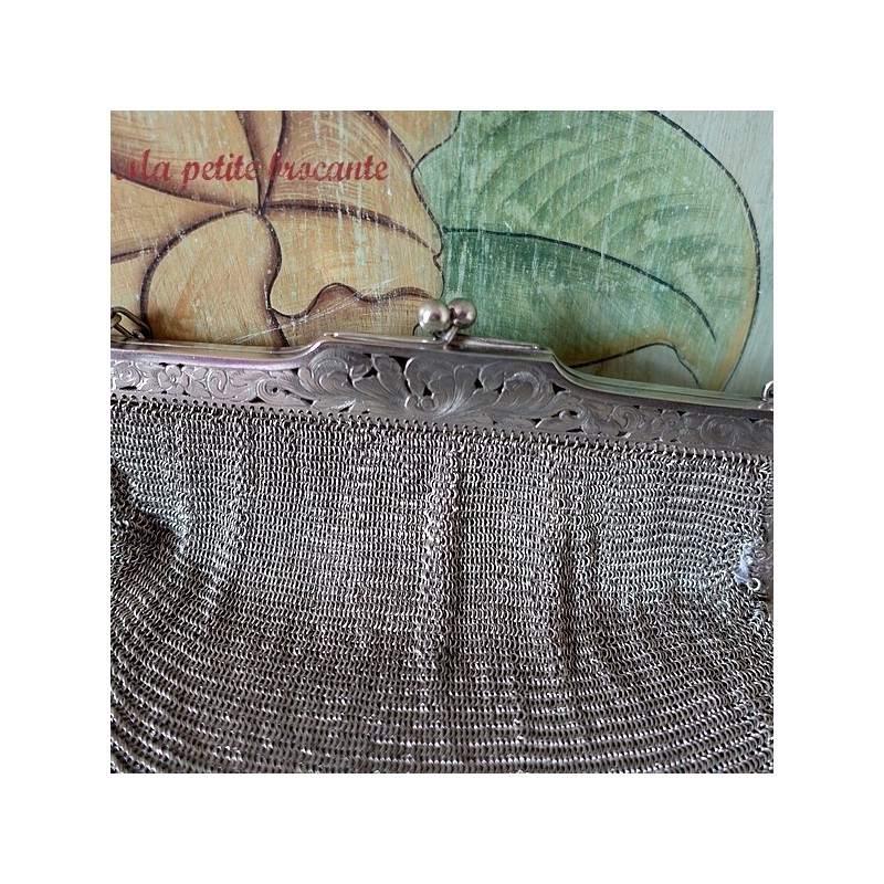Grande bourse, sac de bal en maille Alpacca 1900
