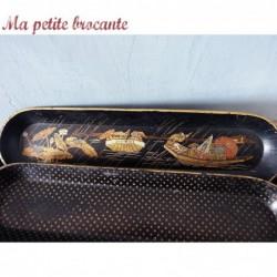 Lot de trois porte plumes crayons Napoléon III laque