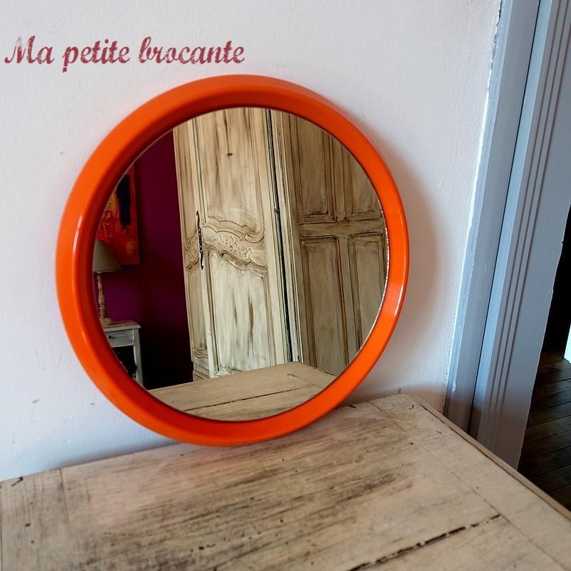 Beau miroir rond vintage des années 70 design Italy mod. 050