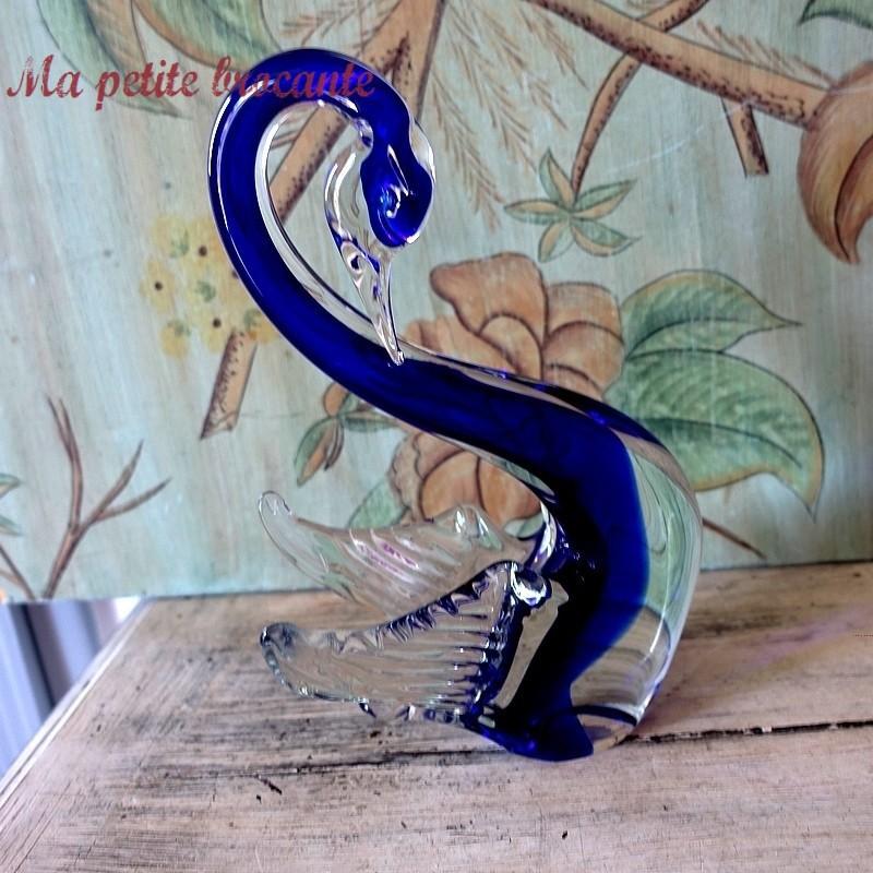 Ancien cygne vintage en verre soufflé de Murano