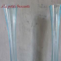Paire de vase soliflore art déco en verre bleu début XXème