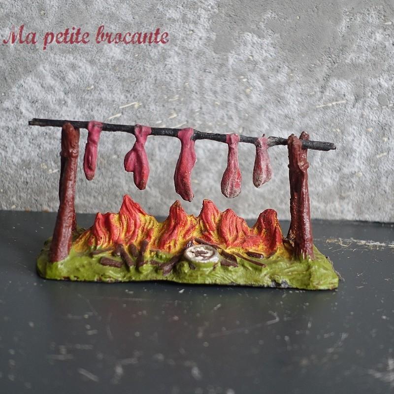 Ancien et authentique grand feu de camp Elastolin Far West