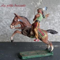 Figurine ancienne indien à cheval avec lasso Elastolin composition