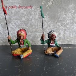 Lot de deux indiens en composition Elastolin des années 30
