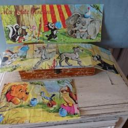 Boîte ancienne de 15 cubes Garnier Cornil série Walt Disney Bambi
