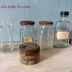 Ancien lot de cinq flacons pharmacie laboratoire chimie