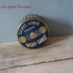 Boîte ancienne de sucres d'orge Vichy Santé Ets H. Moinet