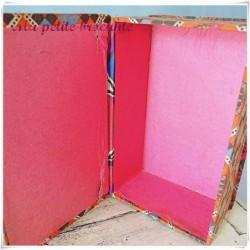 Boite cartonnage tissu pour mercerie art déco