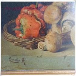 Belle nature morte chromolithographie gallinacé signée Sauvage