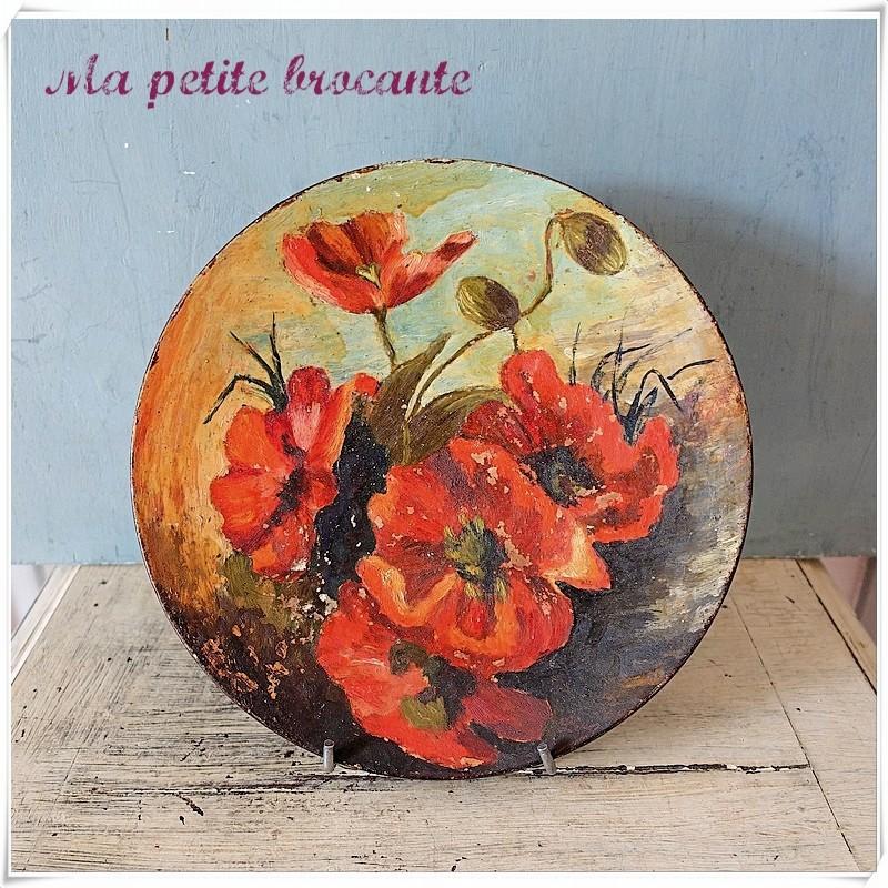 Belle assiette décorative peinte à la main Pichon A Uzès 1900