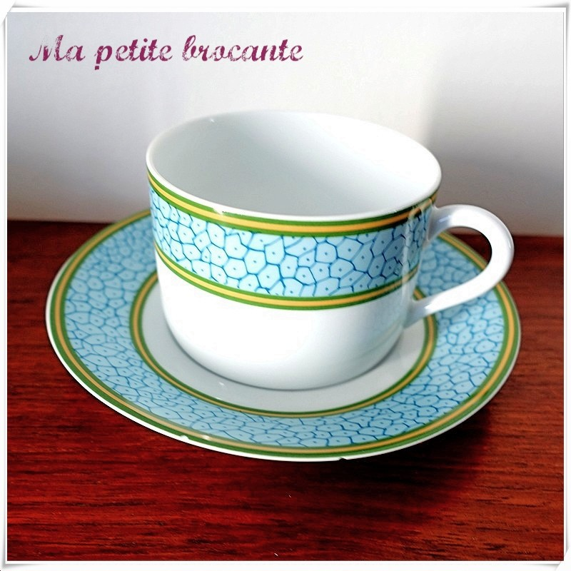 Tasse à thé et sa soucoupe Philippe Deshoulières Limoges modèle Babylone Patrick Frey