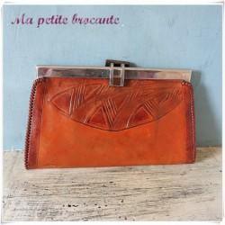 Ancienne pochette en cuir vintage période art déco