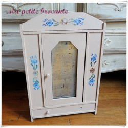 Ancienne armoire de poupée ancienne en bois peint H 48.5 cm