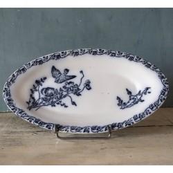 Ancien ravier en porcelaine de Chantilly  coquelicots