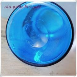 Ancien pot à pharmacie XIXème en verre soufflé et plaque porcelaine