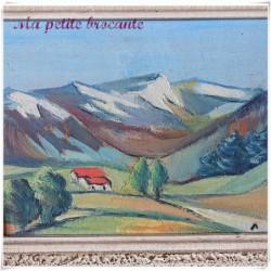 Huile sur panneau décor paysage montagnard