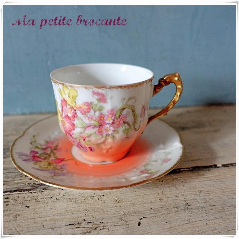 Tasse et soucoupe à café ancienne 1900 FRG Limoges