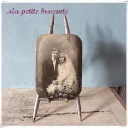 Original porte-photo artisanal composé de douilles