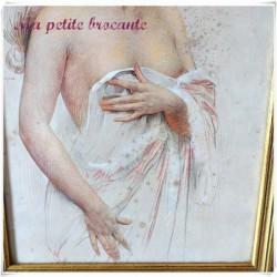 Reproduction dessin femme art déco cadre doré
