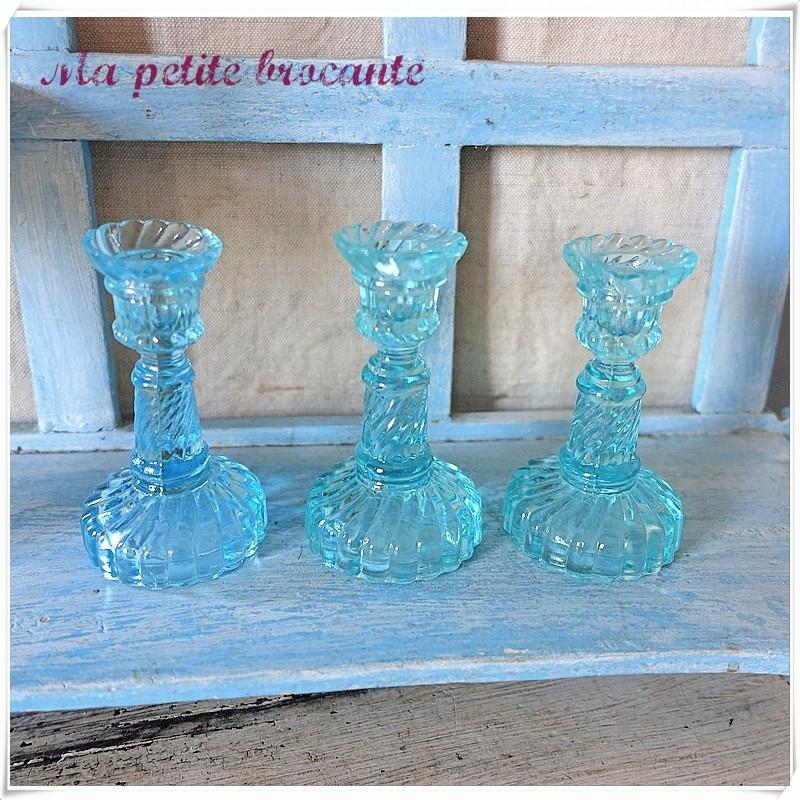 Le trois petits bougeoirs dinette de la verrerie Portieux