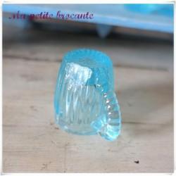 Petits verres dinette ancienne verrerie Portieux bleu