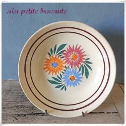 Ancienne assiette calotte HBCM France décor floral