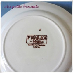 Assiette plate de la manufacture Sarreguemines Digoin Primax brun