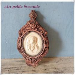 Ancien reliquaire cadre verre bombé vierge Marie