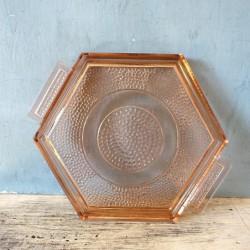 Ancien petit plateau octogonal en verre et ses 4 petits verres art déco