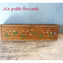 Ancien plumier en bois peint décor floral Emile Pequignet