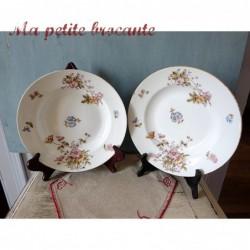 Assiette creuse en porcelaine de Limoges XIXème décor floral