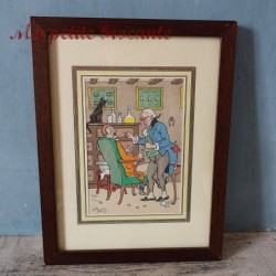 Ancienne estampe lithographie pochoir d'Harry Eliott le dentiste