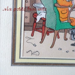 Ancienne estampe lithographie pochoir d'Harry Eliott le dentiste