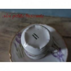 Tasse et soucoupe décor d'iris en porcelaine de Limoges