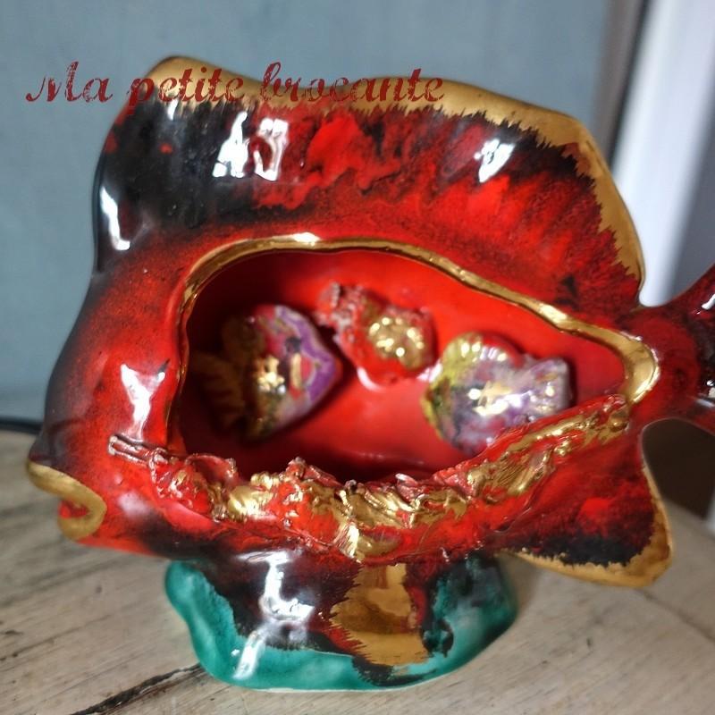 Belle lampe veilleuse poisson en céramique barbotine vallauris ?