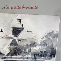Belle aquarelle en noir et blanc de Scheinfeld peintre à identifier