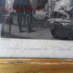 Belle gravure encadrée Raphaël peignant la Ste Famille Menjaud