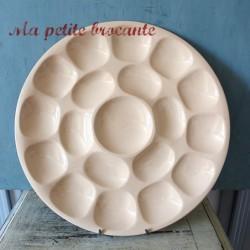 Ancien grand plat pour 18 huitres en faïence de Digoin & Sarreguemines