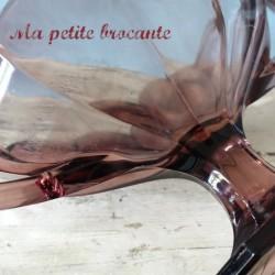 Coupe art déco en verre couleur violine sur piédouche