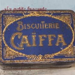 Boite en tôle ancienne biscuiterie Caïffa art déco