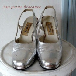 AUTHENTIQUE CHAUSSURE DE SOIREE COCKTAIL DISCO DES ANNEES 70
