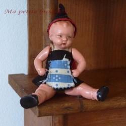 Ancienne petite poupée celluloid marquée d'un trèfle Germany vintage n°70