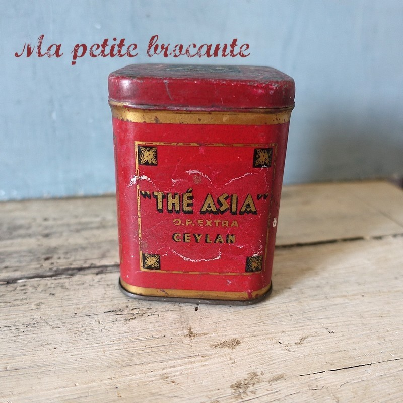Boite ancienne à  thé asia O.P. Extra Ceylan