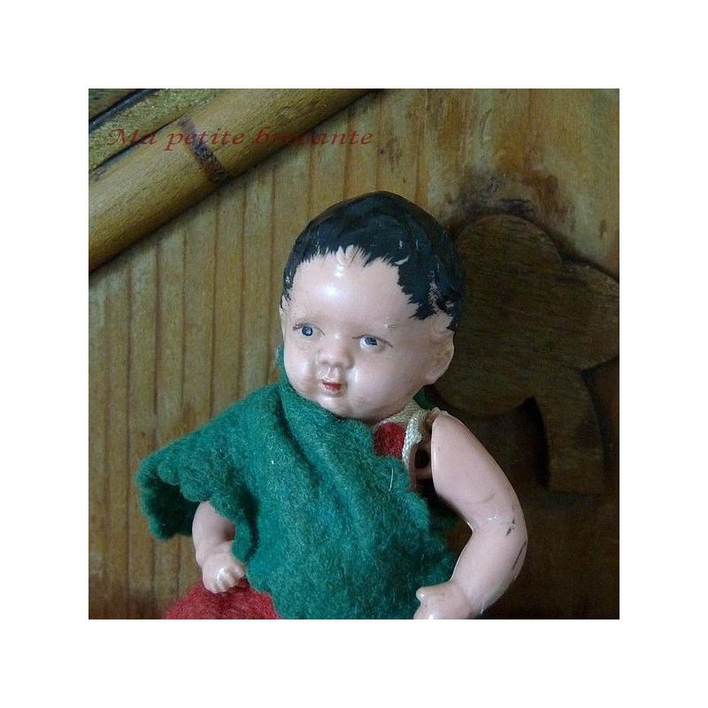 Ancienne petite poupée celluloid marquée d'un trèfle Germany vintage 8 cm
