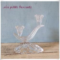 Bougeoir ancien en verre ou cristal